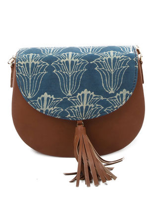 Blue-Tan Lotus Printed Cotton Sling Bag