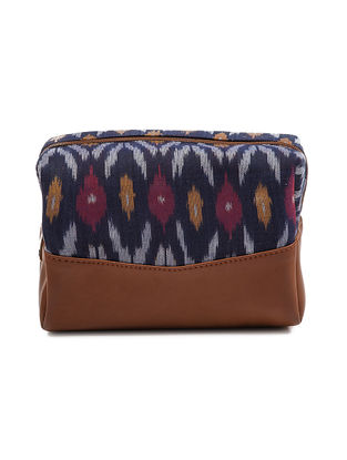 Blue-Tan Ikat Cotton Pouch