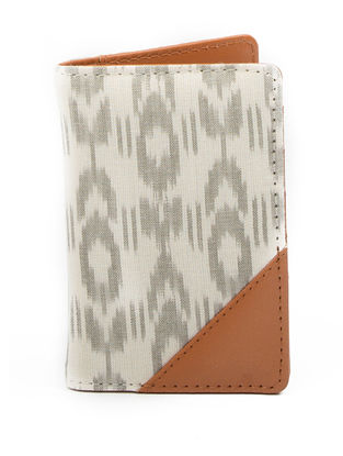 Ivory-Grey Ikat Cotton Passport Cover