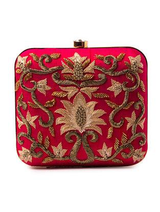 Pink Zardozi-Embroidered Silk Clutch