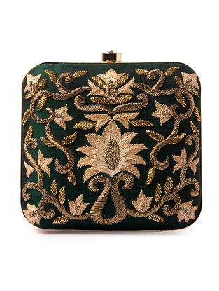 Green Zardozi-Embroidered Silk Clutch