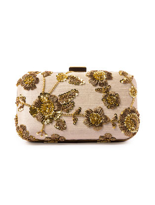 Ivory Sequin and Zardozi Embroidered Silk Clutch