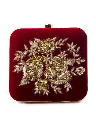 Maroon Sequin and Zardozi Embroidered Silk Clutch