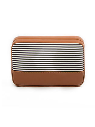 Brown Striped Clutch with Detachable Sling