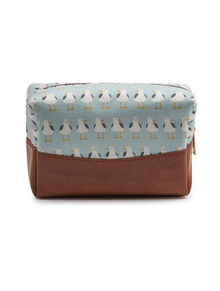 Brown-Blue Duck Print Cotton Pouch