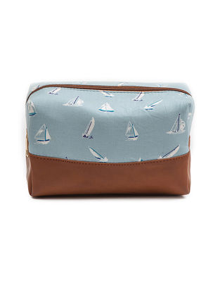 Brown-Blue Boat Print Cotton Pouch