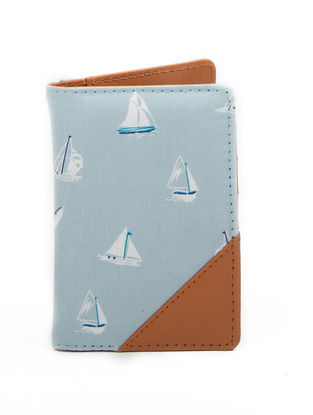 Brown-Blue Boat Print Cotton Passport Cover