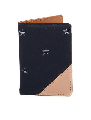Peach-Blue Star Print Cotton Passport Cover