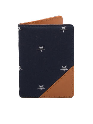 Brown-Blue Star Print Cotton Passport Cover