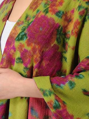 Green-Pink Printed Reversible Merino Wool Cape