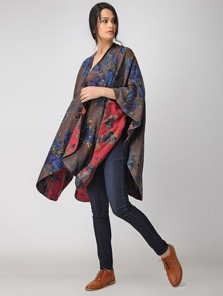 Burgundy-Pink Printed Reversible Merino Wool Cape
