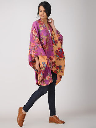 Pink-Yellow Printed Reversible Merino Wool Cape