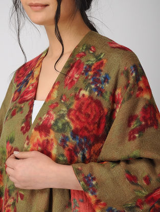 Olive-Red Printed Reversible Merino Wool Cape