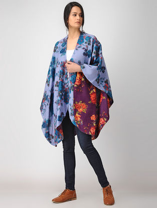 Blue-Purple Printed Reversible Merino Wool Cape