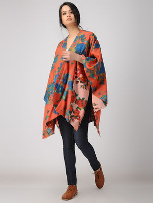 Orange-Blue Printed Reversible Merino Wool Cape