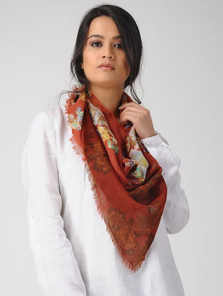 Red-Yellow Printed Merino Wool Scarf