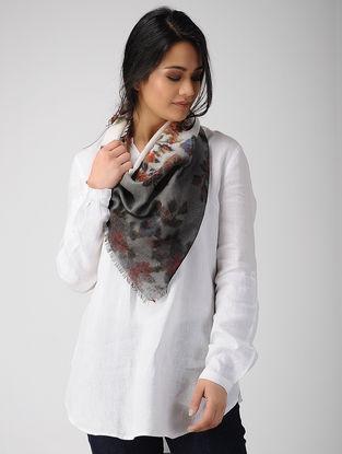 Grey-Ivory Dip-dyed Printed Merino Wool Scarf