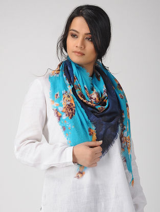 Blue-Orange Dip-dyed Printed Merino Wool Scarf