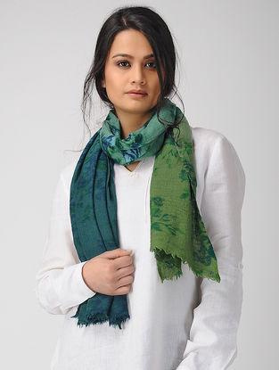 Green-Blue Dip-dyed Printed Merino Wool Scarf