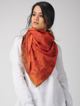 Orange-Green Dip-dyed Printed Merino Wool Scarf