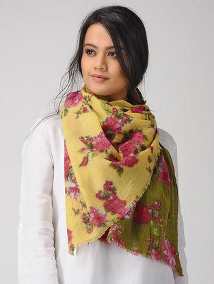 Yellow-Pink Printed Merino Wool Scarf