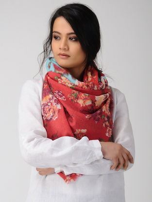 Pink-Blue Printed Merino Wool Scarf
