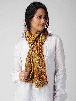 Yellow-Red Printed Twill Merino Wool Scarf