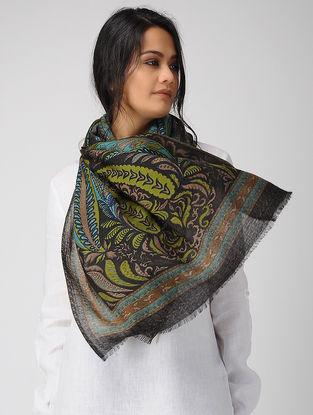 Black-Green Printed Twill Merino Wool Scarf