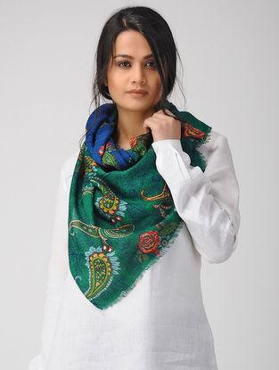 Green-Blue Printed Twill Merino Wool Scarf