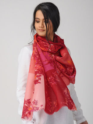 Red-Pink Printed Twill Merino Wool Scarf