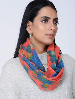 Pink-Blue Printed Wool Loop Scarf