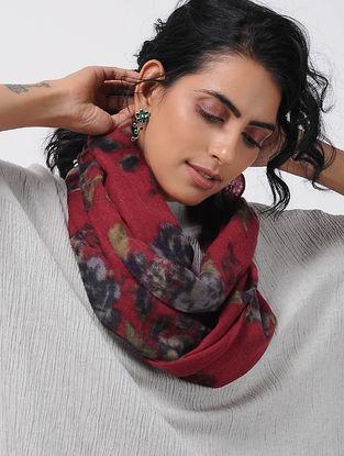 Red-Black Printed Wool Loop Scarf