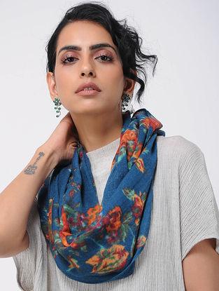 Blue-Orange Printed Wool Loop Scarf