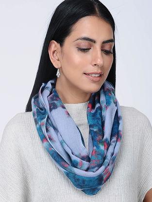 Blue Printed Wool Loop Scarf