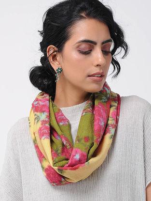Green-Pink Printed Wool Loop Scarf