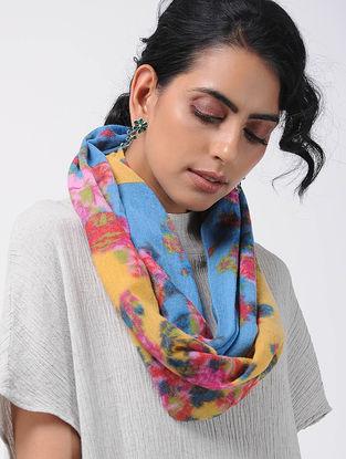 Blue-Yellow Printed Wool Loop Scarf
