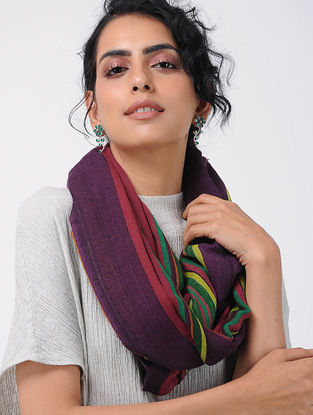Purple-Red Printed Wool Loop Scarf