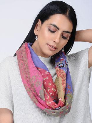 Blue-Pink Printed Wool Loop Scarf