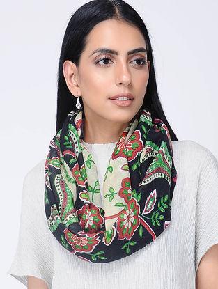 Black-Green Printed Wool Loop Scarf