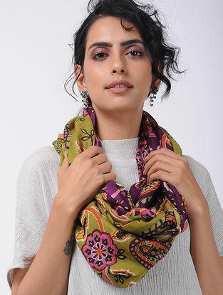 Purple-Green Printed Wool Loop Scarf