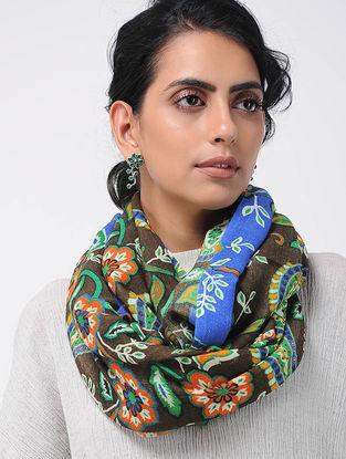 Black-Blue Printed Wool Loop Scarf