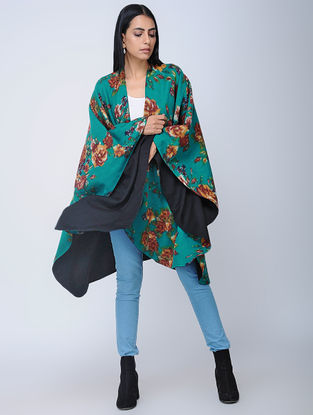 Blue-Black Screen-printed Wool Reversible Cape