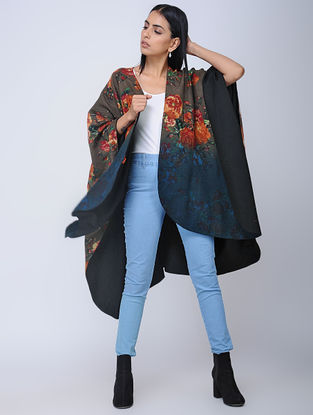 Grey-Black Screen-printed Wool Reversible Cape