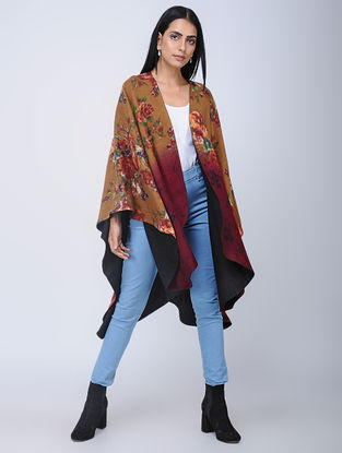 Brown-Black Screen-printed Wool Reversible Cape