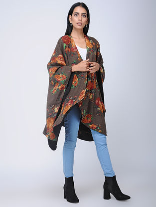 Grey-Red Screen-printed Wool Reversible Cape