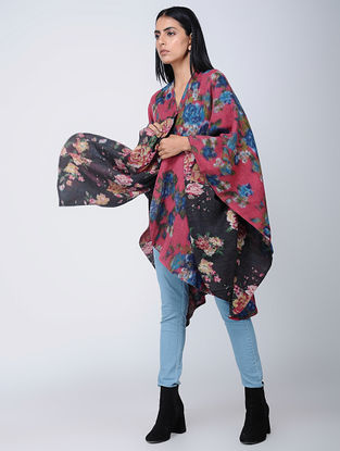 Pink-Black Screen-printed Wool Reversible Cape