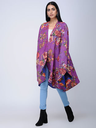 Purple-Blue Screen-printed Wool Reversible Cape