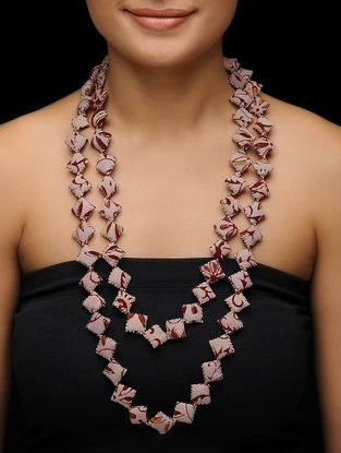 Pink-Maroon Kalamkari-printed Fabric Necklace