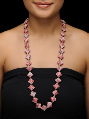 Pink Kalamkari-printed Fabric Necklace
