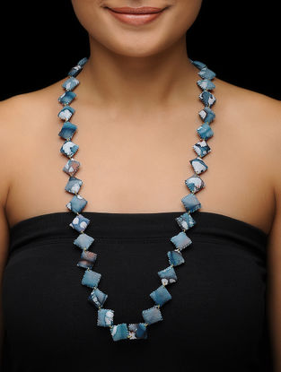 Blue Batik-printed Fabric Necklace